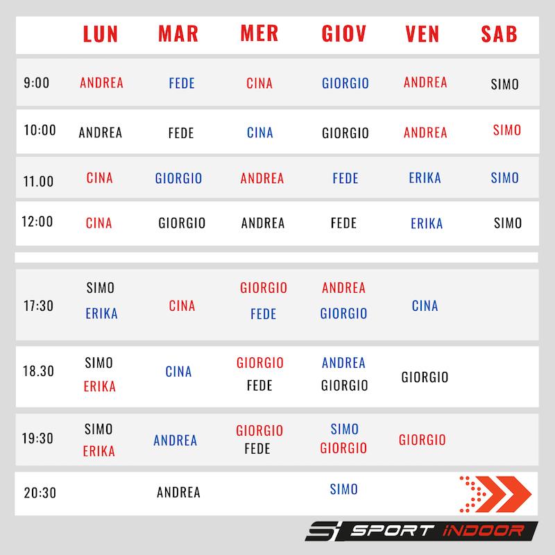 Calendario degil allenamenti live
